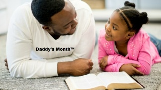 Father and daughter together in the living room reading the bible and discussing religion.